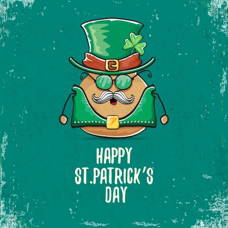 Happy saint patricks day greeting card with funky leprechaun rock star potato character with green particks hat isolated on turquoise background. Rock n roll hipster vegetable funky character