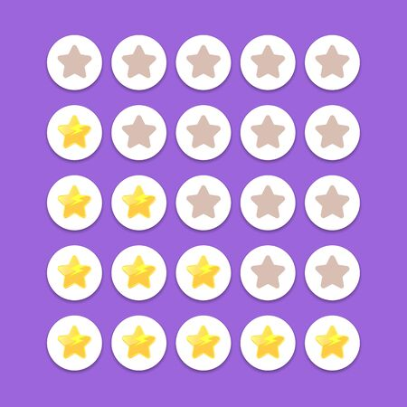 five star rating icon set. client feedback system rating with cartoon stars.funky Rate us web page design template Illusztráció