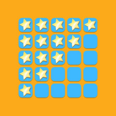 five star rating icon set. client feedback system rating with cartoon stars. funky Rate us web page design template