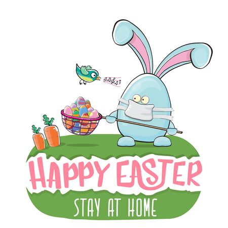 Happy easter stay at home greeting card with funny cartoon blue rabbit with medical face mask holding butterfly net. Easter egg hunt hand drawn concept illustration banner.