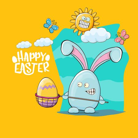 Happy easter greeting card with funny cartoon blue rabbit holding butterfly net. Easter egg hunt hand drawn concept illustration banner.