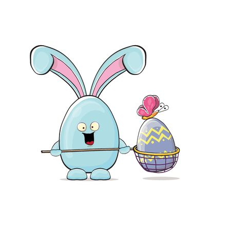 Cartoon funny cartoon blue easter bunny holding butterfly net full of colorful easter eggs inside isolated on white background. Easter hand drawn blue cute rabbit sticker or label