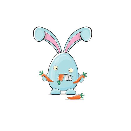 Vector Cartoon funny blue easter bunny isolated on white background. Easter hand drawn blue cute rabbit sticker or label