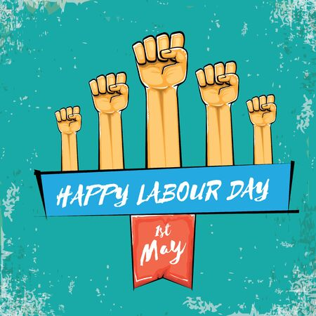 Happy labour day vector label with strong orange fist isolated on grunge turquoise background. vector happy labor day background with man hand. red workers may day poster 向量圖像
