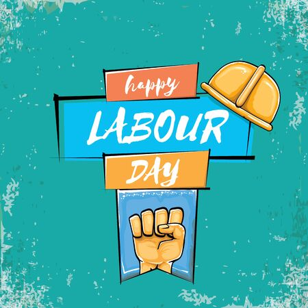 Happy labour day vector label with strong orange fist isolated on grunge turquoise background. vector happy labor day background with man hand. red workers may day poster 矢量图像