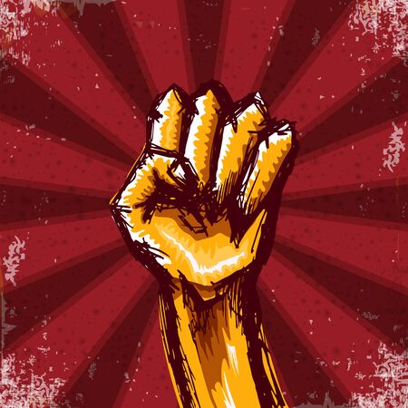 Vectro orange protest fist isolated on red grunge background with rays. 1 may Labor day concept illustration with hand drawn doodle rised fist in the air. Mayday graphic banner design template