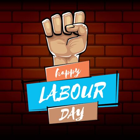 Happy labour day vector label with strong orange fist isolated on brick wall background. vector happy labor day background with man hand. red workers may day poster
