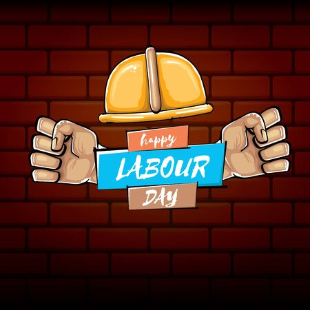 Happy labour day vector label with strong orange fist isolated on brick wall background. vector happy labor day background with man hand. red workers may day poster Ilustración de vector