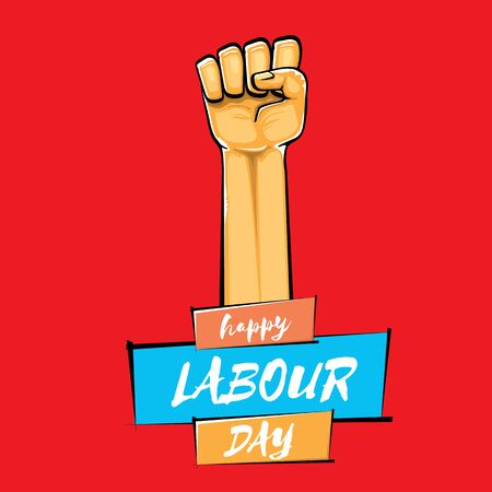 Happy labour day vector poster with strong orange fist isolated on red background. vector happy labor day background with man hand. red workers may day poster Vektoros illusztráció