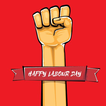 Happy labour day vector label with strong orange fist isolated on red background. vector happy labor day background with man hand. red workers may day poster 向量圖像