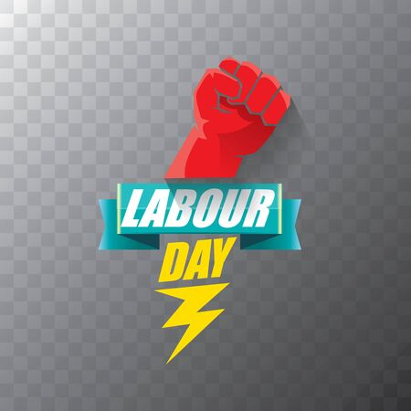 Happy labour day vector label with strong orange fist on transparent background. vector happy labor day background or banner with man hand. workers may day poster