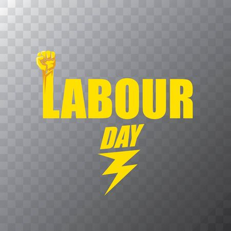 Happy labor day vector label with strong orange fist on transparent background. vector happy labor day background or banner with man hand. workers may day poster