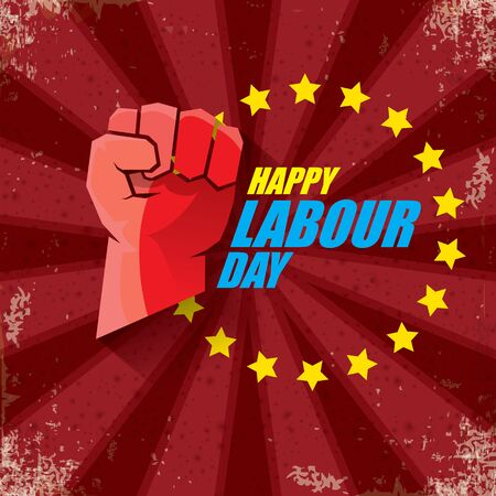 1 may Happy labour day vector label with strong protest fist in the air on bintage red background with rays. vector happy labor day background or banner with man hand. workers may day poster