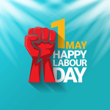 1 may Happy labour day vector label with protest fist in the air on azure sky background with rays. vector happy labor day background or banner with man hand. workers may day poster