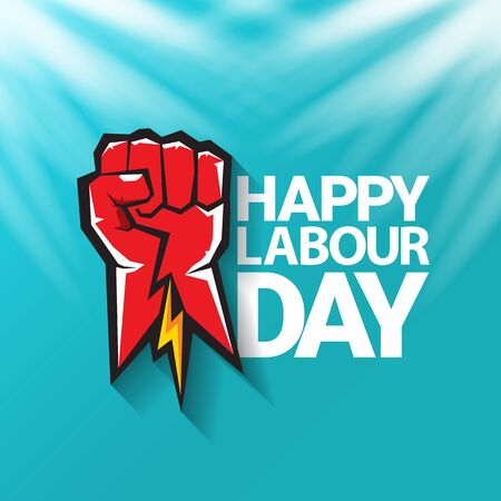 1 may Happy labour day vector label with strong protest fist in the air on blue sky background with rays. vector happy labor day background or banner with man hand. workers may day poster 向量圖像