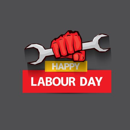 1 may Happy labour day vector label with strong protest fist isolated on grey background with rays. vector happy labor day background or banner with man hand. workers may day poster