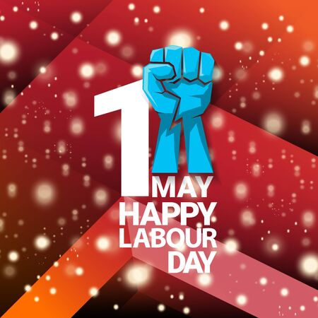 1 may Happy labour day vector label with strong protest fist isolated on red background with rays. vector happy labor day background or banner with man hand. workers may day poster