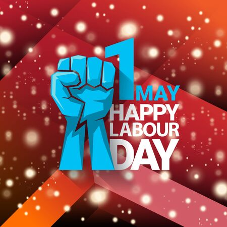1 may Happy labour day vector label with protest fist iisolated on red background with rays. vector happy labor day background or banner with man hand. workers may day poster