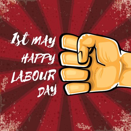 Happy labour day vector label with strong orange hand fist isolated on grunge red background with rays. vector happy labor day background with man hand. red workers may day poster design