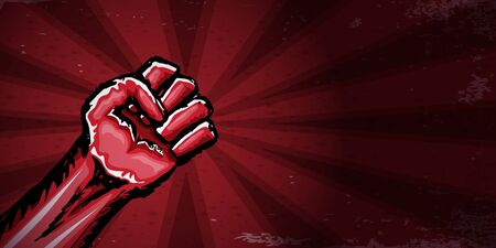 Vectro red protest fist isolated on red horizontal banner background. 1 may Labor day concept illustration with hand drawn rised fist in the air. Mayday graphic horizontal banner design template