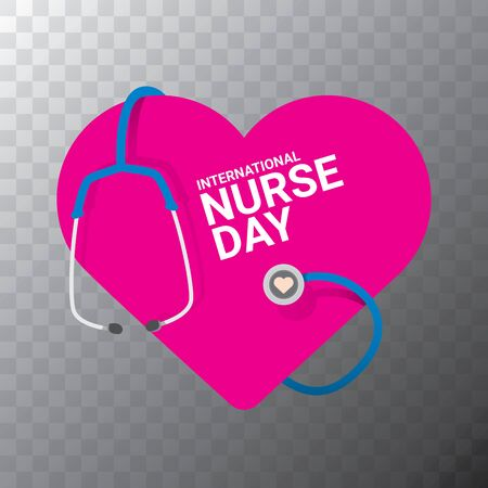 vector international nurse day vector label with stethoscope on transparent background. vector nurses icon