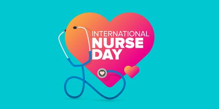 vector international nurse day greeting card or horizontal banner with stethoscope isolated on azure background. vector nurses day icon or sign design template