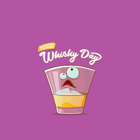 World Whisky Day banner with vector funny cartoon smiling whiskey glass character isolated on violet backgound. whiskey day vector concept illustration. funky hipster alcohol character label