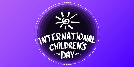 1 june international childrens day cartoon horizontal banner background. happy Children day greeting card. icon or label. Cartoon kids day poster. Children day banner