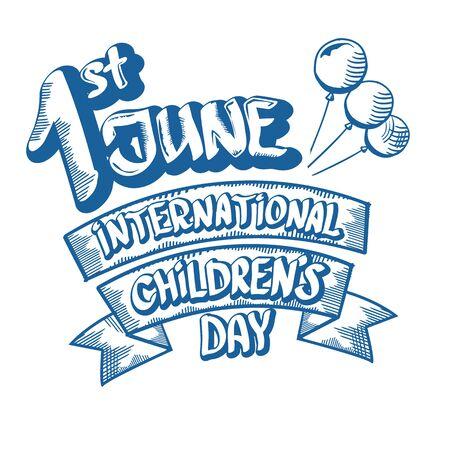 1 june international childrens day cartoon doodle style banner background. happy Children day greeting cad, icon or label. Cartoon kids day poster. Children day hand drawn banner design