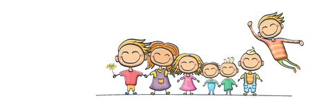 cartoon kids set isolated on white background. Group of childrens holding hands. cartoon kids collection . Childrens day or kids day horizontal banner