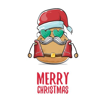 vector rock star santa potato funny cartoon cute character with with red santa hat and calligraphic merry christmas text isolated on white background. rock n roll christmas party poster