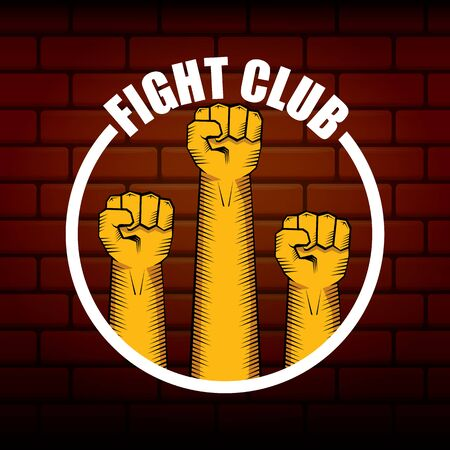 fight club vector  with orange man fist isolated on brick wall background. MMA Mixed martial arts concept design template