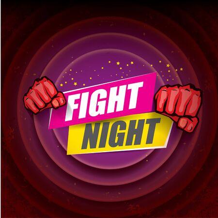 Kämpfen Sie modernes Plakat des Nachtvektors mit Text und starker Faust. MMA-, Wrestling- oder Fight Club-Emblem-Design-Vorlage. Kampfetikett auf schwarzem Hintergrund isoliert