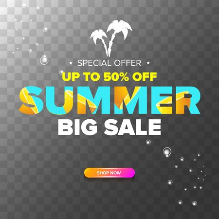 vector summer sale modern design template web banner or poster. Summer sale label with typographic text on transparent background