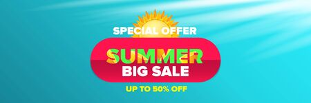 vector summer sale horizontal web banner or poster. Summer sale label with typographic text on azure background