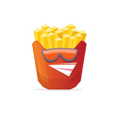 vector funny cartoon french fries potato box character with sunglasses isolated on white background. funky smiling food character