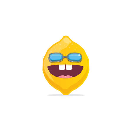 vector funny cartoon lemon character with sunglasses isolated on white background. funky smiling summer fruit character