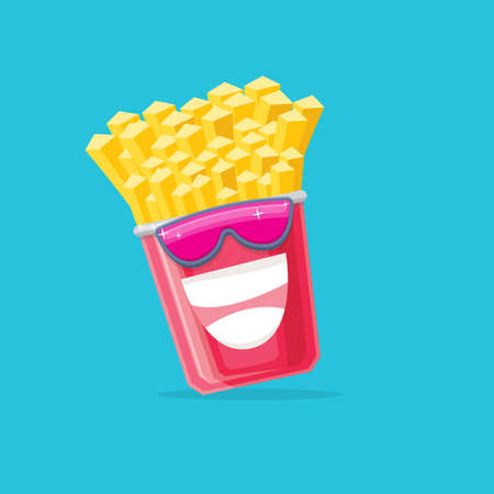 vector funny cartoon french fries potato box character with sunglasses isolated on blue background. funky smiling food character
