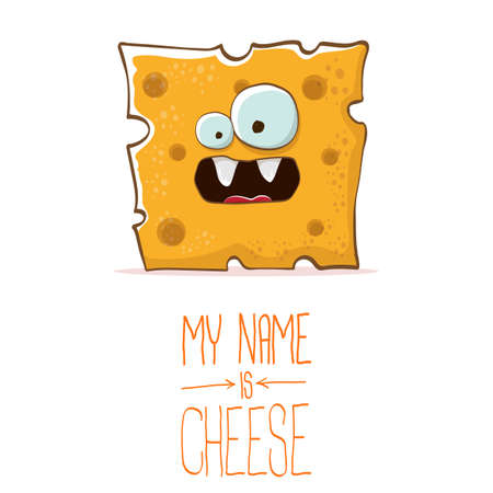 vector funny cartoon cute orange cheese character isolated on white background. My name is cheese. food funky character