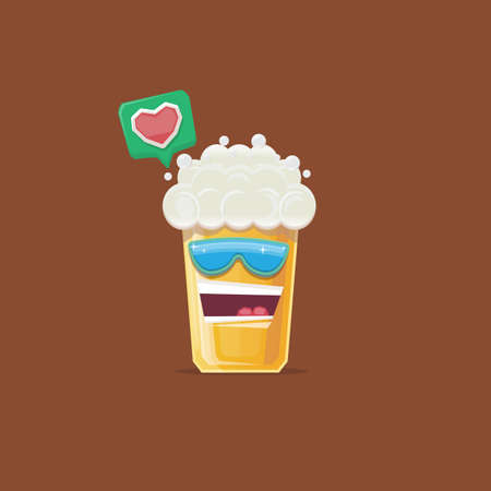 vector cartoon funky beer glass character with sunglasses isolated on brown background. funny beer label or poster design template. International beer day cartoon comic poster or greeting banner