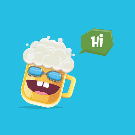 vector cartoon funky beer glass character with sunglasses isolated on blue background. Vector funny beer label or poster design template. International beer day cartoon comic poster or greeting banner