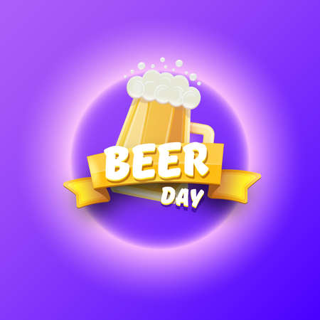 international beer day banner or poster with beer glass add vintage ribbon with greeting text isolated on violet background . Happy beer day label or greeting card