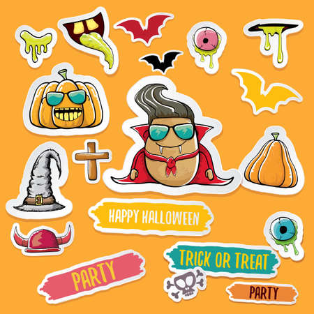 Vector halloween sticker icons set with dracula, witch hat, scary pumpkin, bat , skull, happy halloween text, demon and zombie eyes, wooden cemetry cross, monsters isolated on orange background.