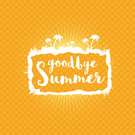 White goodbye summer vector concept text label or sticker on orange summer background with sun lights