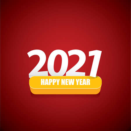 2021 Happy new year creative design background or greeting card with text. vectorr 2021 new year numbers isolated on red on blue background