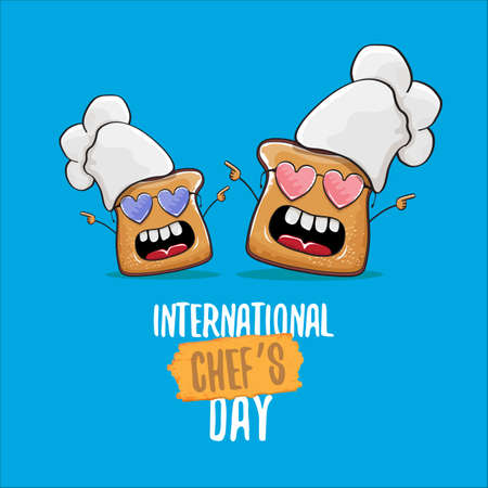 International chef day greeting card or banner with vector funny cartoon chef bread with chef hat isolated on blue background.