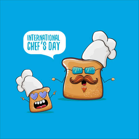 International chef day greeting card or banner with vector funny cartoon chef bread with chef hat isolated on blue background. Ilustracje wektorowe
