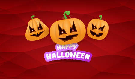 Halloween Horizontal web Banner or poster with Halloween scary pumpkins gang isolated on a red background. Funky kids Halloween concept background with greeting text 向量圖像