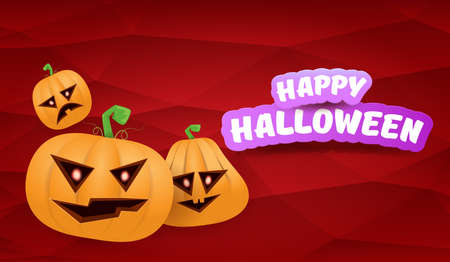 Halloween Horizontal web Banner or poster with Halloween scary pumpkins gang isolated on a red background. Funky kids Halloween concept background with greeting text Ilustração