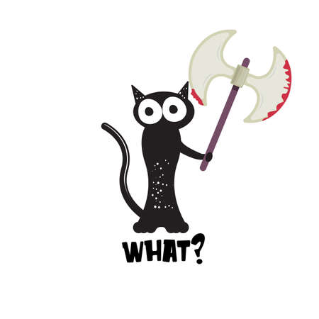 Black cat and ax isolated on white background. Funny Halloween black cat holding a bloody ax. Halloween concept illustration Ilustração